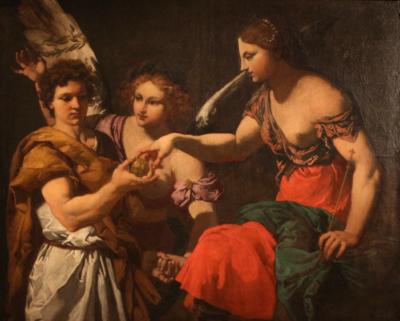 Johann Carl Loth, <cite>Paride consegna ad Afrodite la mela d'oro</cite>, 1665-70 circa, Fondazione Cavallini Sgarbi. Particolare da una foto di Sailko, CC BY 3.0 via Wikimedia Commons